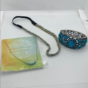 Jewelry - Blue inspired accessories lot hair, necklace,